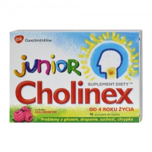 CHOLINEX JUNIOR O smaku malinowym - 16 pastylek do ssania.